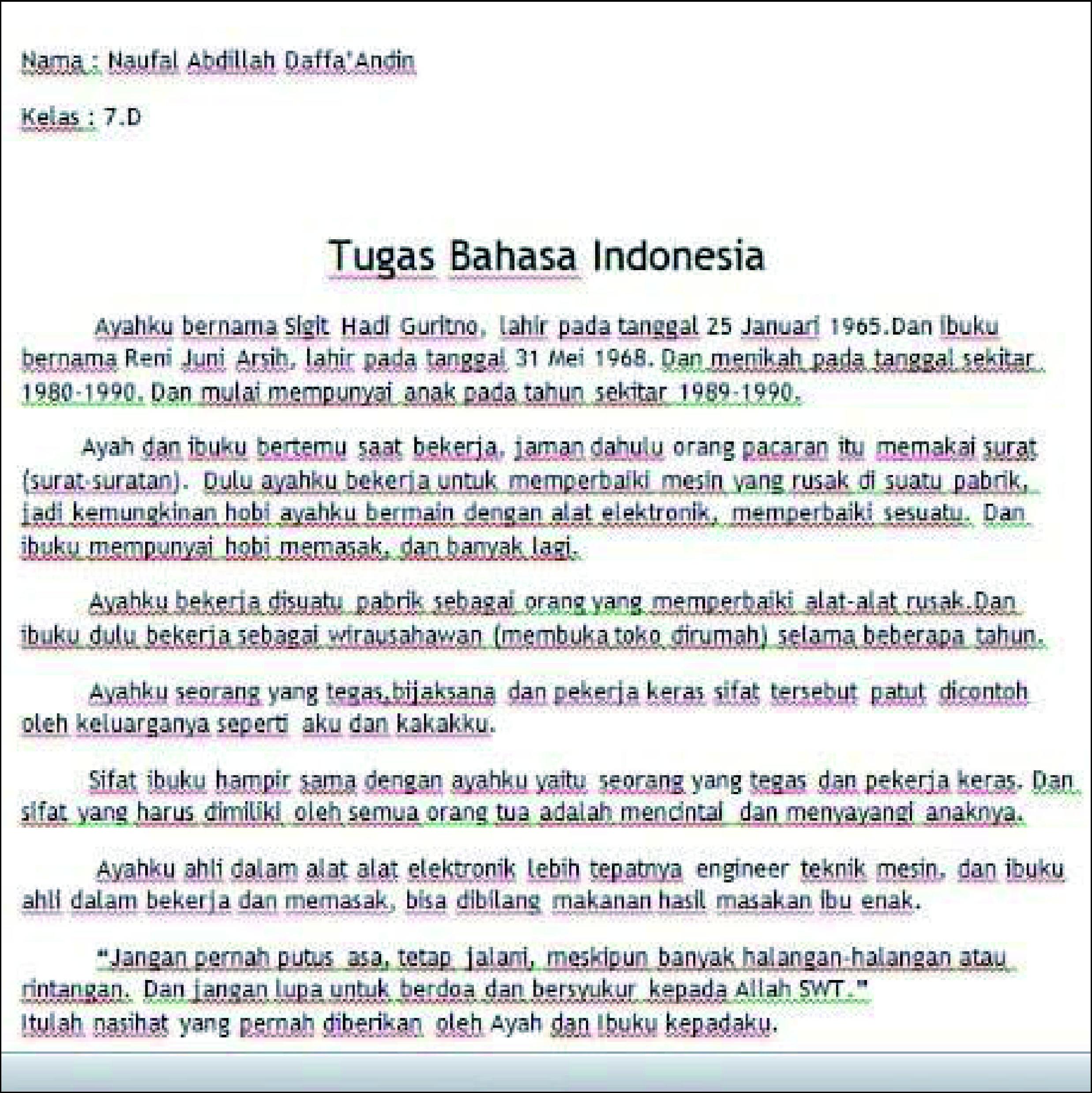 Tugas Bahasa Indonesia Cerita tentang Orang Tua