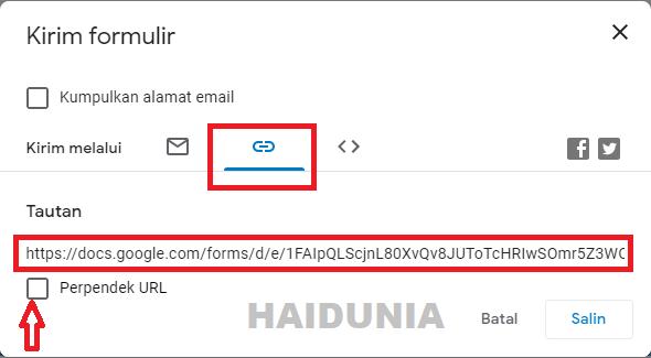 cara membuat link google form