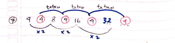 pola deret angka nomor 7