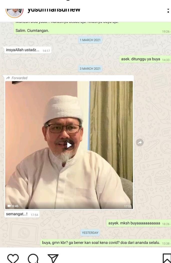 Komunikasi terkahir Ust Yusuf Mansur Sebelum Tengku Zulkarnain Meninggal