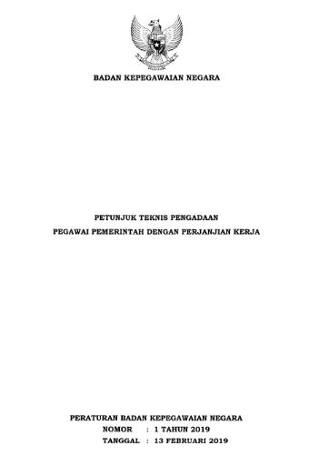 Peraturan BKN Nomor 1 tahun 2019 Tentang Petunjuk Teknis Pengadaan P3K