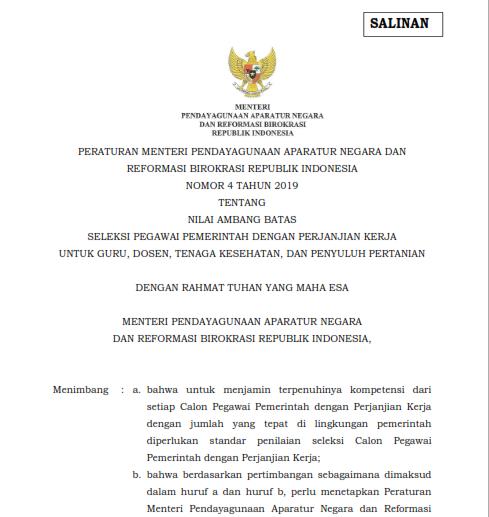 Permenpan No 4 tahun 2019 tentang Nilai Ambang batas PPPK
