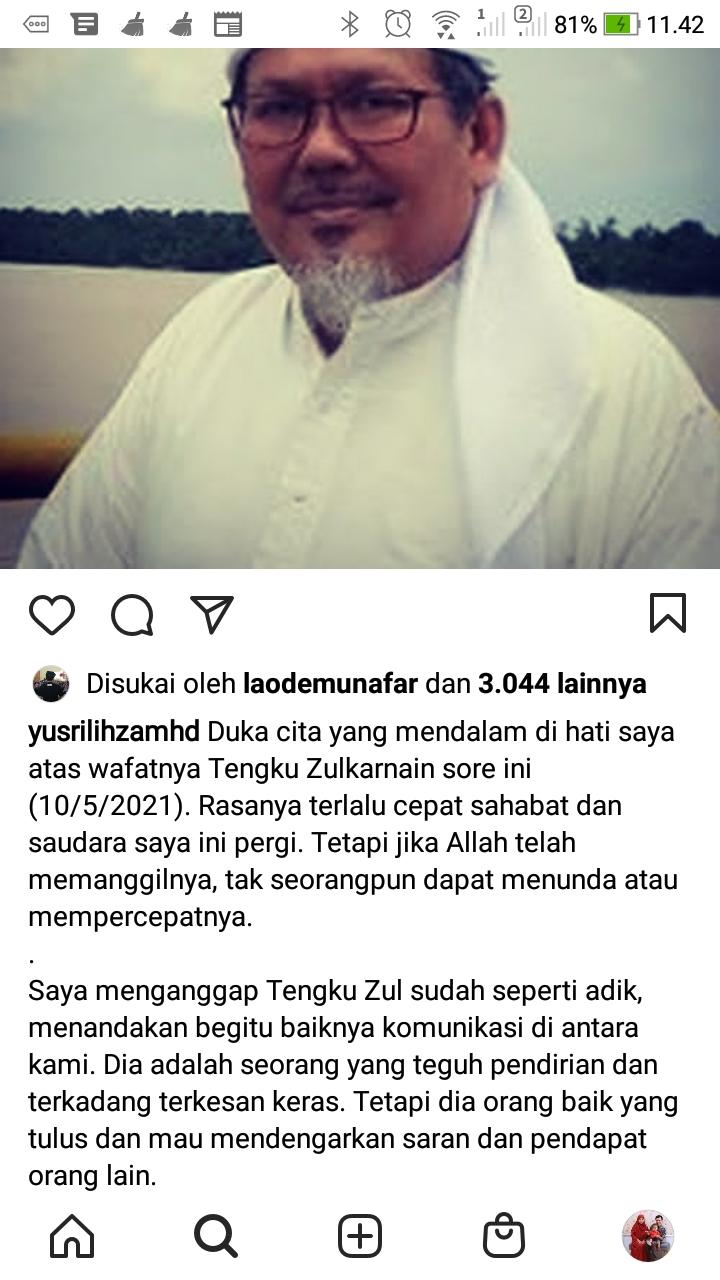 Ucapan duka cita Prof Yusril atas meninggalnya Tengku Zulkarnain