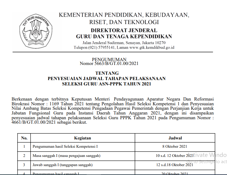 Penyesuian Tanggal Tes Kompetensi Manajerial P3K 2021 Tahap II dan Tahap III